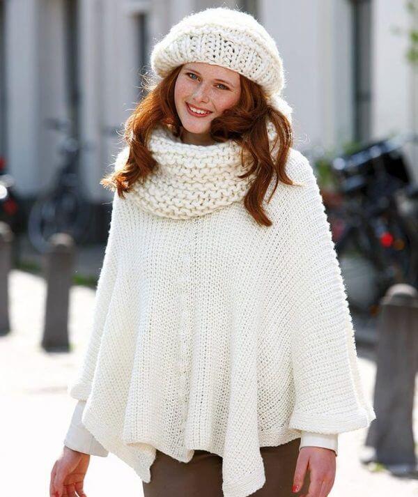 Poncho tricoter en laine Plassard Silence