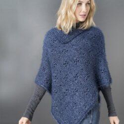 Poncho tricoté en Zibeline